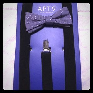 Bow tie and suspender set